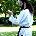 Entrenador nacional da clases de taekwondo